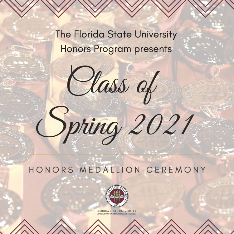Spring 2021 Honors Medallion Ceremony Program Cover - Link to Spring 2021 Honors Graduates Page